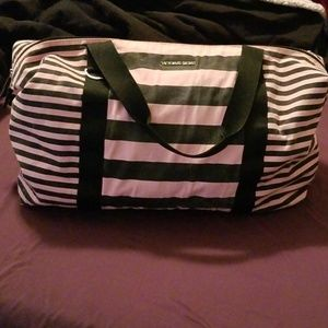 V.s. pink and black duffle overnight bag